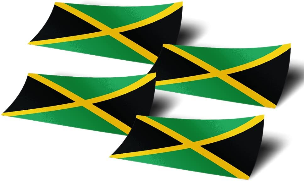 Jamaica 4 Pack of 4 Inch Wide Country Flag Stickers Decal for Window Laptop Computer Vinyl Car Bumper Scrapbook Jamaican 4