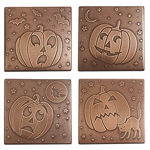 Jack O' Lantern Drink Coasters Set Of 4 | Halloween Coasters Party Decorations, Pumpkin Coasters Antiqued Copper Finish for $<!--$24.99-->