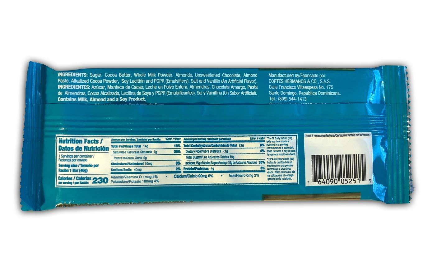 Amazon.com : Cortes Premium Milk Chocolate Almond Bars (18 ...