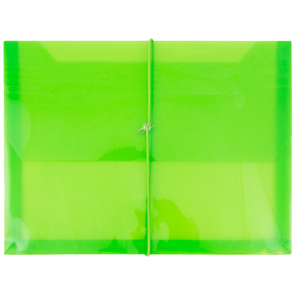 JAM PAPER Plastic Expansion Envelopes with Elastic Band Closure - Letter Booklet - 9 3/4 x 13 with 2.5 Inch Expansion - Lime Green - Sold Individually