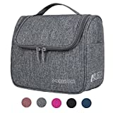 DOKEHOM DKA3104GY Hanging Toiletry Organizer Travel Cosmetic Bag (5 Colors), Water Resistant with Mesh Pockets (Grey, L)