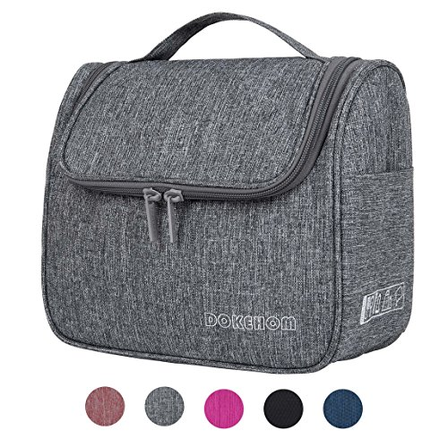 DOKEHOM DKA3104GY Hanging Toiletry Organizer Travel Cosmetic Bag (5 Colors), Water Resistant with Mesh Pockets (Grey, L) by DOKEHOM