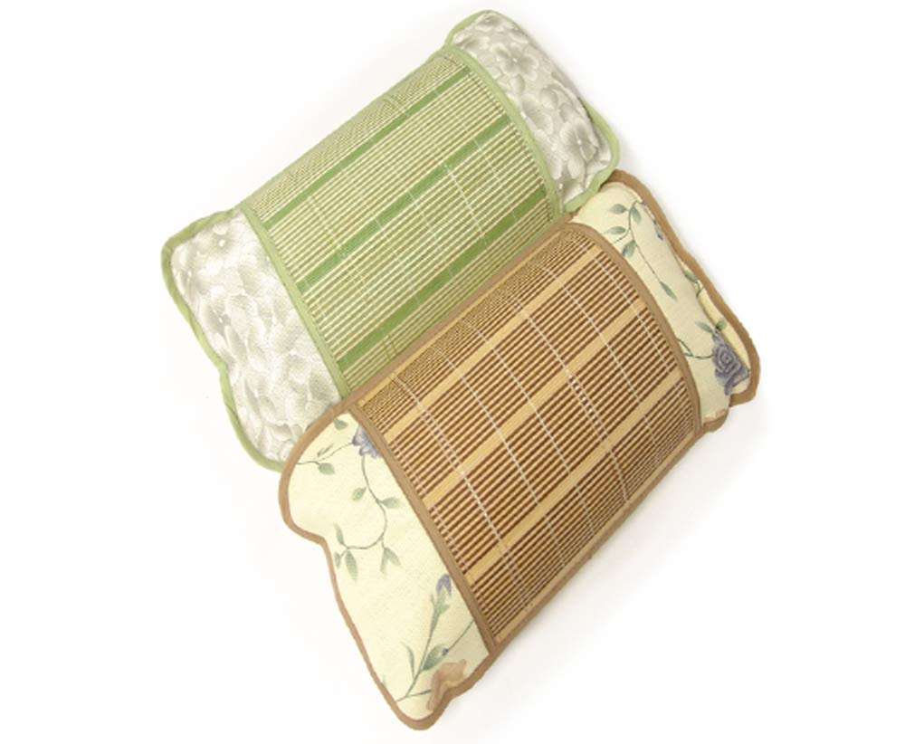 Go Bamboo Wood Rectangular Breathable Bed Pillow with Herbs Herbal Flowers Blend (Brown-Set of 2)