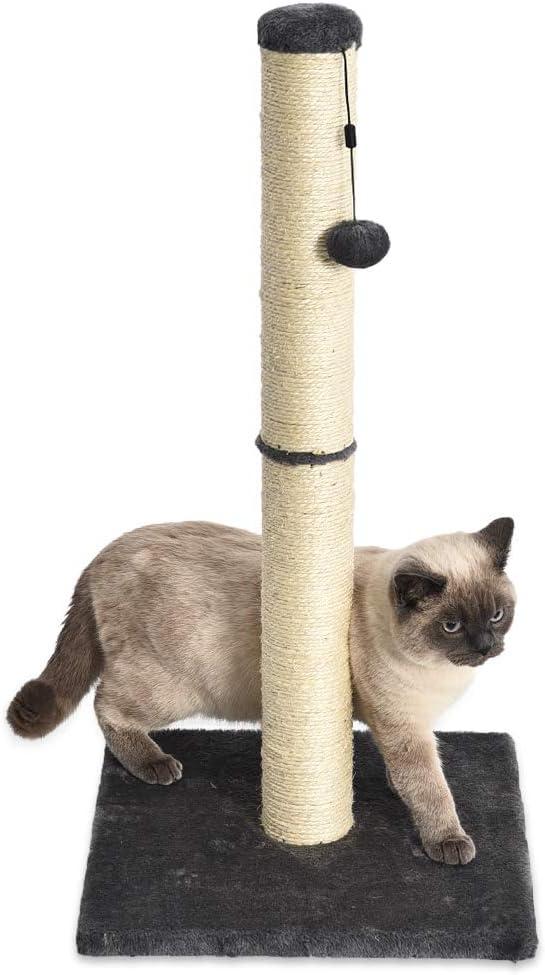 Amazon Basics - Poste rascador para gatos, mediano, 40,6x40,6x81,3 cm, gris