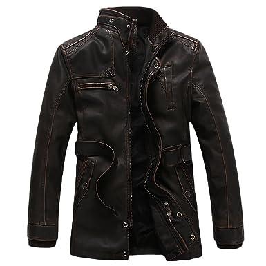 Homme En Cuir Youjia Manteau Jacket Veste Blouson Imitation Pu w6Xx7zq