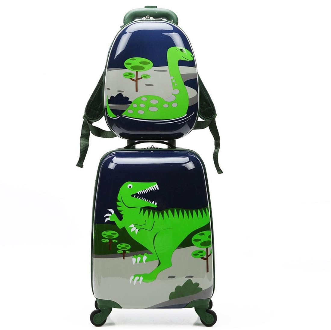 2pcs Children Rolling Suitcase Animal Cartoon Pattern Carry On Set With Universal Wheels 18 in with 13 in Cute Cartoon Shoulder Bag Travel Luggage Case Set (Dinosaur, 18'' and 13'')