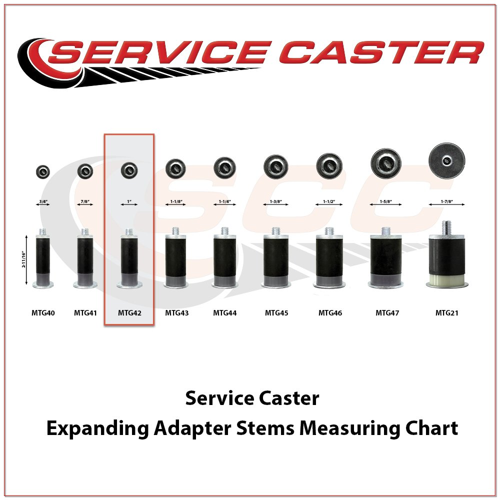 Service Caster - 5'' x 1.25'' Hard Rubber Wheel Swivel Casters w/1'' Expanding Stem w/Brake - Set of 4 by Service Caster (Image #1)