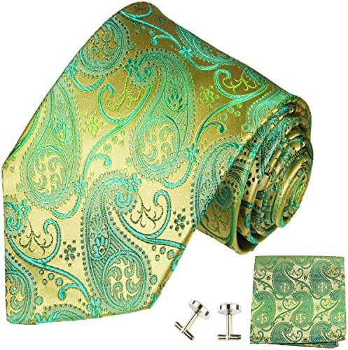 Paul Malone Extra Long Silk Necktie, Pocket Square and Cufflinks Green Gold