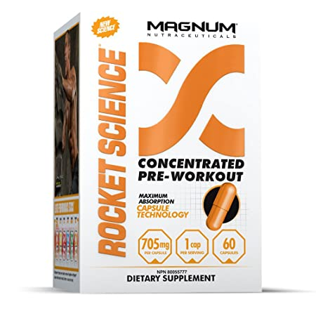 Magnum Nutraceuticals Rocket Science – 60 Capsules – Extreme Pre-Workout Pills – no Upset Stomach – Increased Focus, Energy, and Endurance – Break Through Your Plateaus Today
