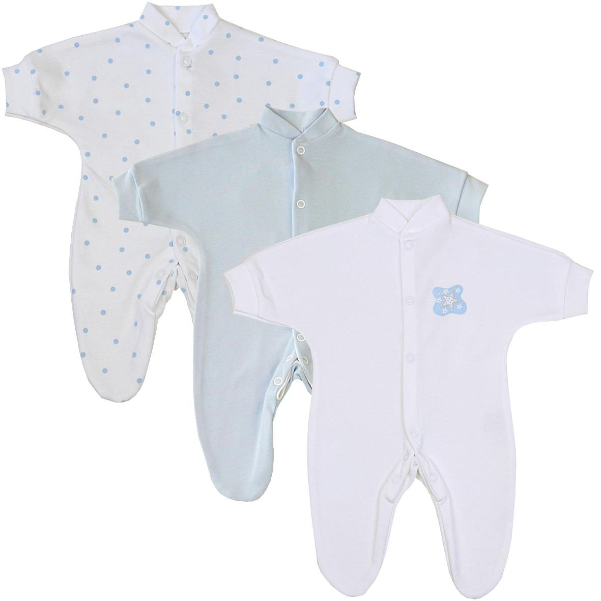 Babygros upto 1.5lb,3.5lb,5.5lb,7.5lb Blue Moon /& Stars Premature Early Baby Clothes Pack of 3 Sleepsuits