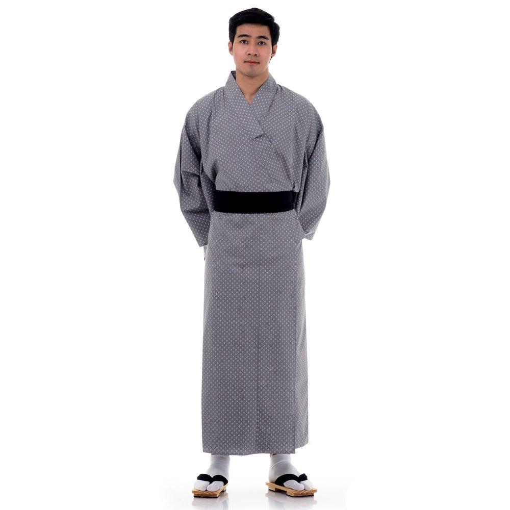 Japanischer Herren Yukata Kimono Baumwolle M L XL Grau XKM101