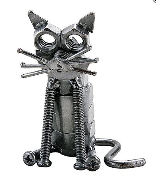 Hecho a mano Metal reciclado gato sentado de arte: Amazon.es: Hogar