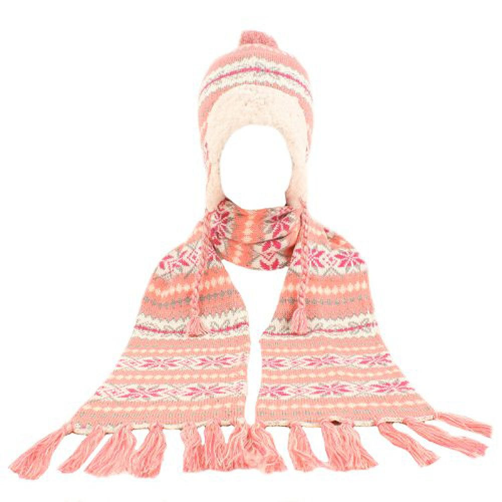 Winter Warm-Up - Soft Berber Lined Snowflake Knit Big Girls' Hat & Scarf Set, Coral, Pink 33689-onesize