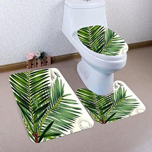 Floor Standing Bidet Set (Mikey Store 3PCS Print Bathroom Non-Slip Pedestal Rug + Lid Toilet Cover + Bath Mat Set (Color A))