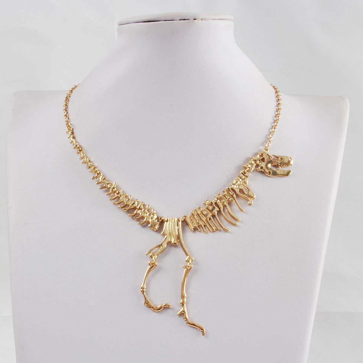 Collana vintage con dinosauro a collo corto, bigiotteria per donne e ragazze. e materiale non metallico, colore: Gold, cod. QBSPOPRT-3E