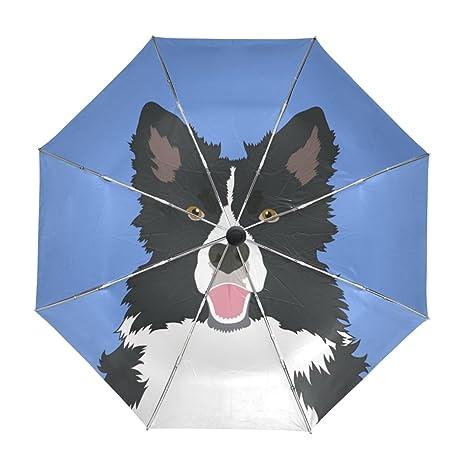 ALAZA Viaje del perro Border Collie paraguas de apertura automática Cerca de Protección UV a prueba