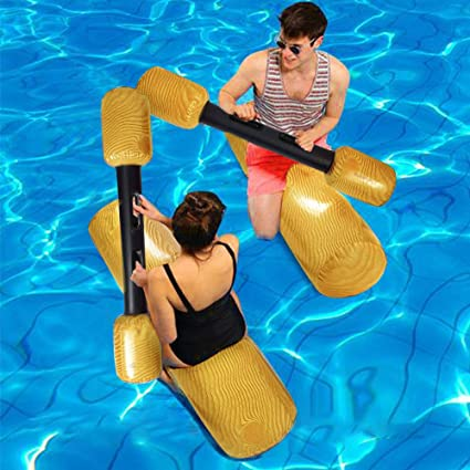 2 Pairs New Summer Log Flume Joust Swimming Pool Inflatable Float Game Set
