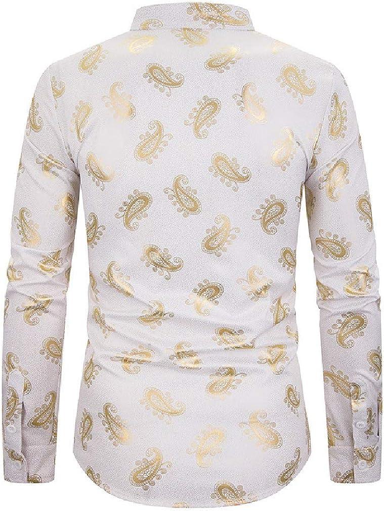 Mfasica Men Stand up Collar Autumn Casual Floral Print Gilded Dress Shirt