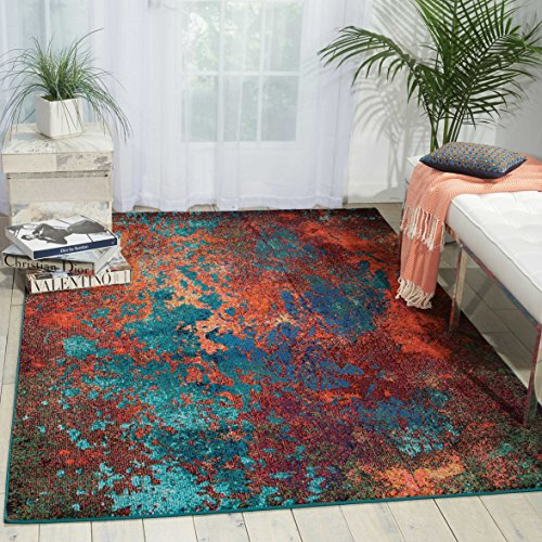 Nourison Celestial  Modern Bohemian Atlantic Multicolored Area Rug, 5'3