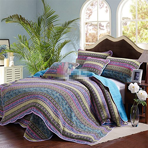 NEEAI Handcrafted Striped Jacquard Style Cotton 3-Piece Patchwork Bedspread Quilt Sets, Queen Size