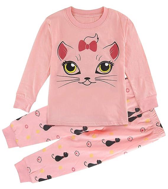Mombebe Niña Pijamas Unicornio Infantil Verano Ropa Chica Manga Corta (Gatito, 2 años)