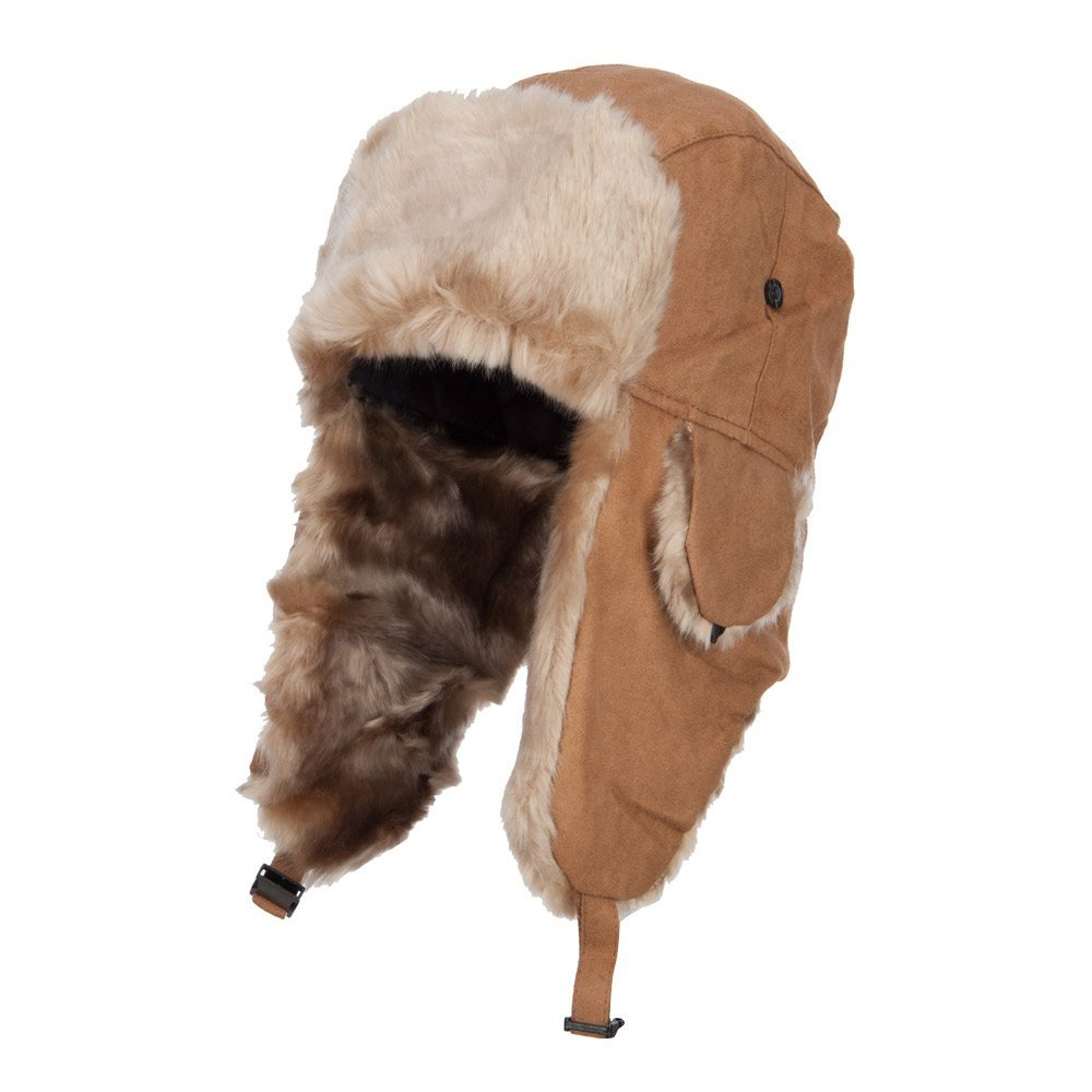 City Hunter Suede Solid Faux Fur Trooper Hat - Chestnut OSFM