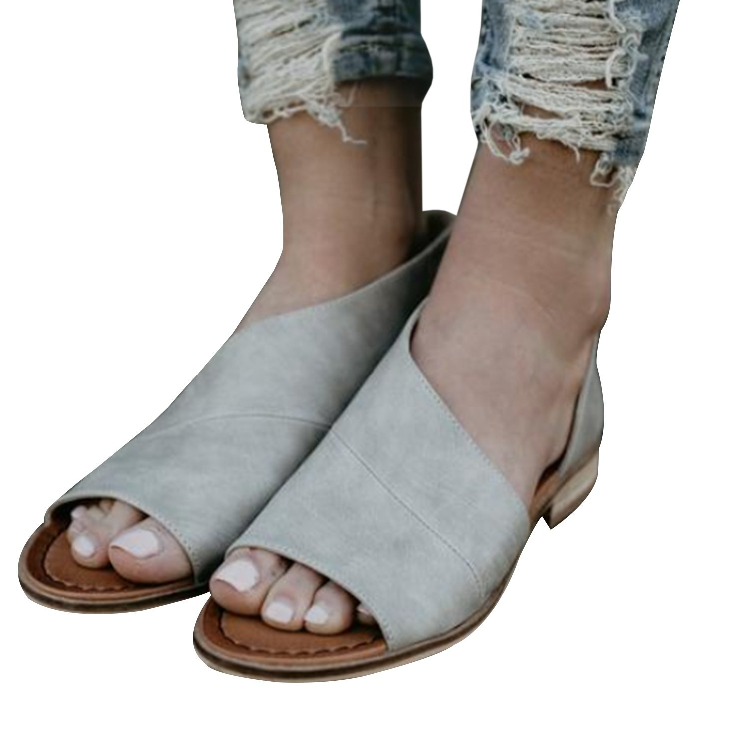 Women Casual D'orsay Open-toe Flats Slip-On Cut Out Asymmetrical Sandal Low Heel Shoes by SySea (Image #2)