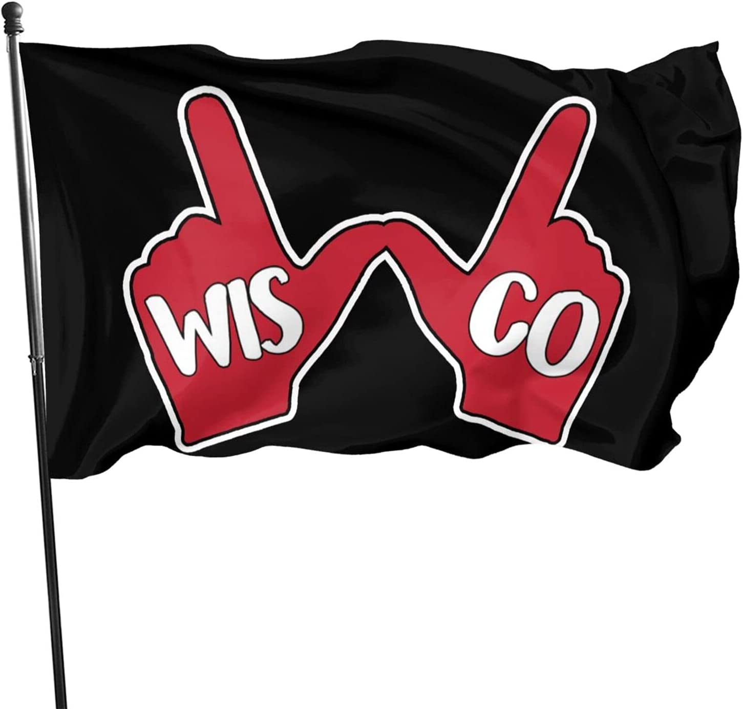 Wisconsin Badgers W Hand 3x5 Feet Strong Durable Flag Outdoor Indoor Decor Flags 3x5 Ft