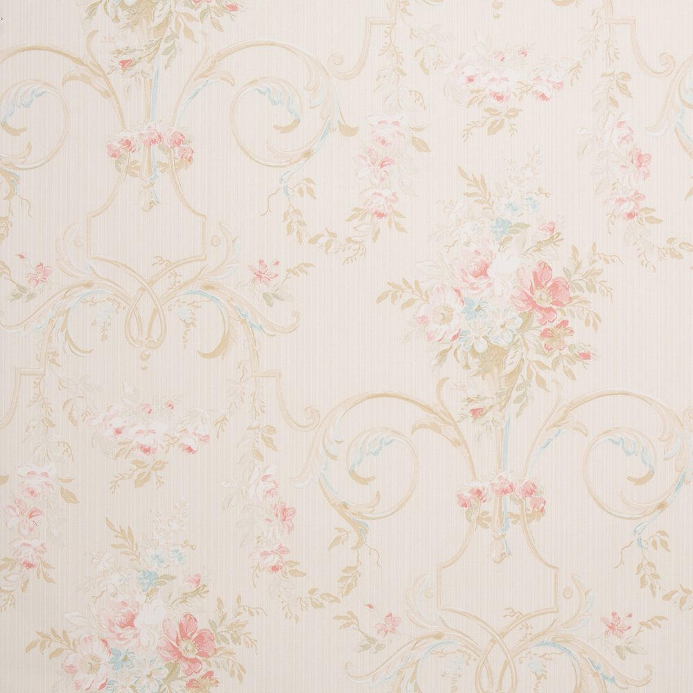 Cottage Floral Ivory Shabby Chic Wallpaper For Walls Double Roll