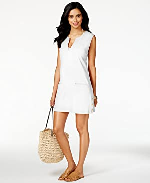 LAUREN by Ralph Lauren - Button Solids Sleeveless Buttron Tunic Cover-Up