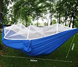 Vicona Portable Double Camping Parachute Fabric Hammock with Mosquito Net -Lightweight Durable Nylon Hammock For Outdoor Travel Indoor Camping Hiking Backpacking Backyard.