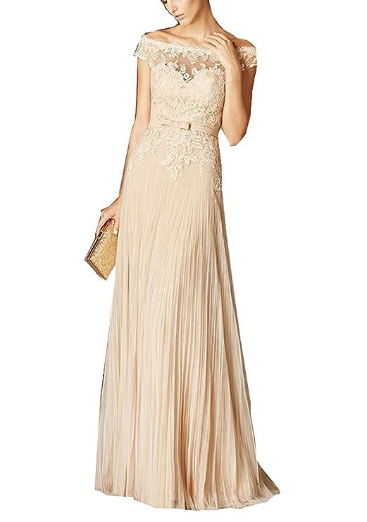 Amazon.com: Fanciest Women\'s Off Shoulder Lace Prom Dresses Long ...