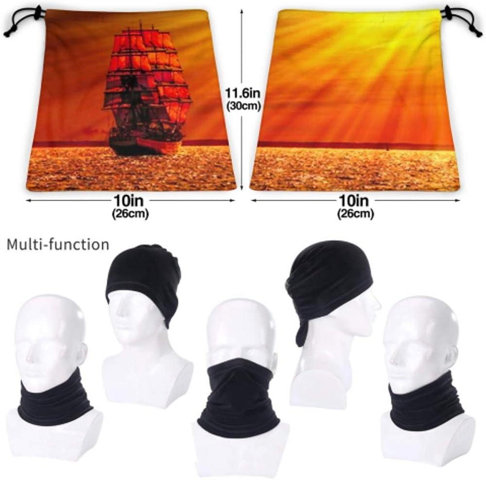 Neck Cap ,ski Mask Half Mask,fac Neck Gaiter Fleece Neck Warmer ,multifunctional Sailing Ship On Sea Sunset Skyline Scarf,a Full Face Mask Or Hat