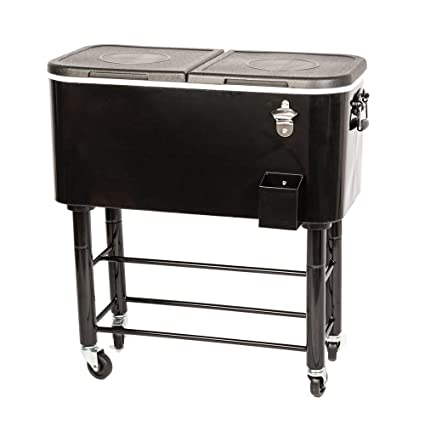 HIO 80 Qt Outdoor Patio Cooler Table On Wheels, Rolling Cooler, Black