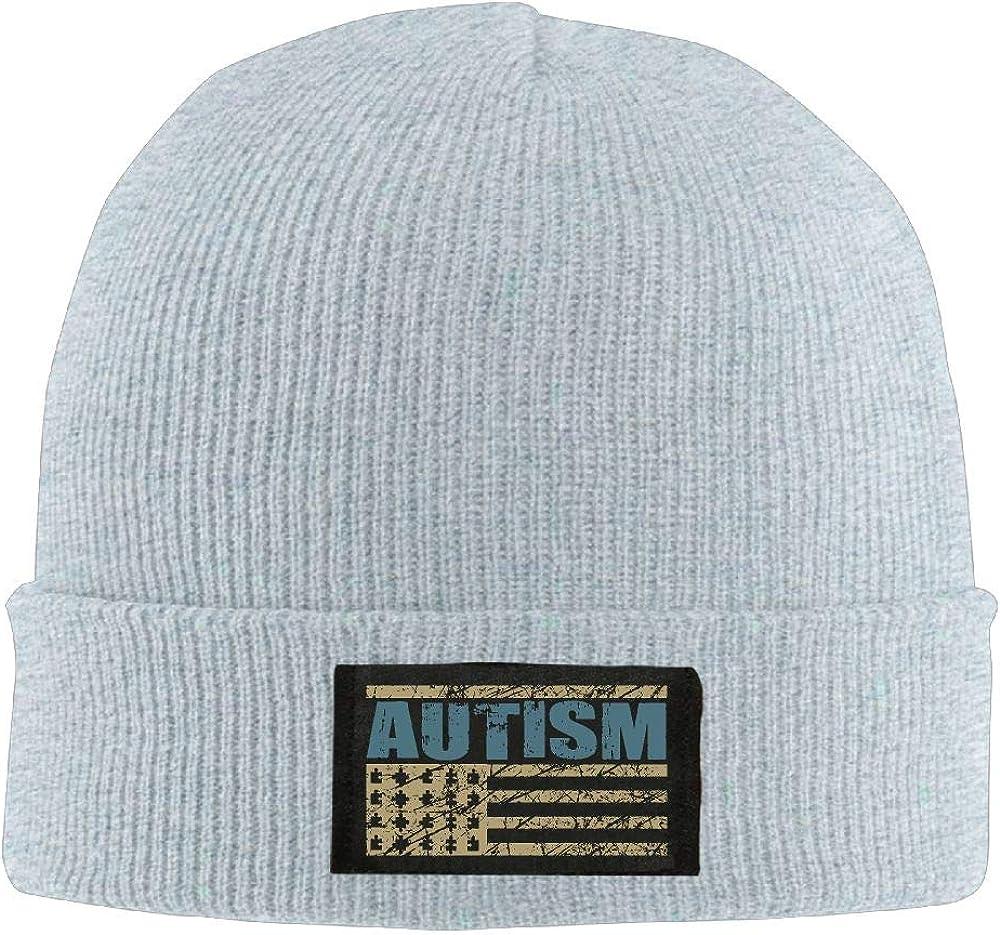 DLOAHJZH-Q Adult Unisex Autism Awareness American Flag Graphic Driver Wool Cap