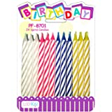 Multicolor Spiral Birthday Cake Candles 24ct: Colorful Assorted Birthday Cake Candles (Pack of 24)