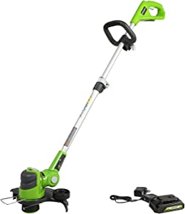 """Greenworks 24V 12"""" String Trimmer, 2Ah USB Battery and Charger Included ST24B215"""