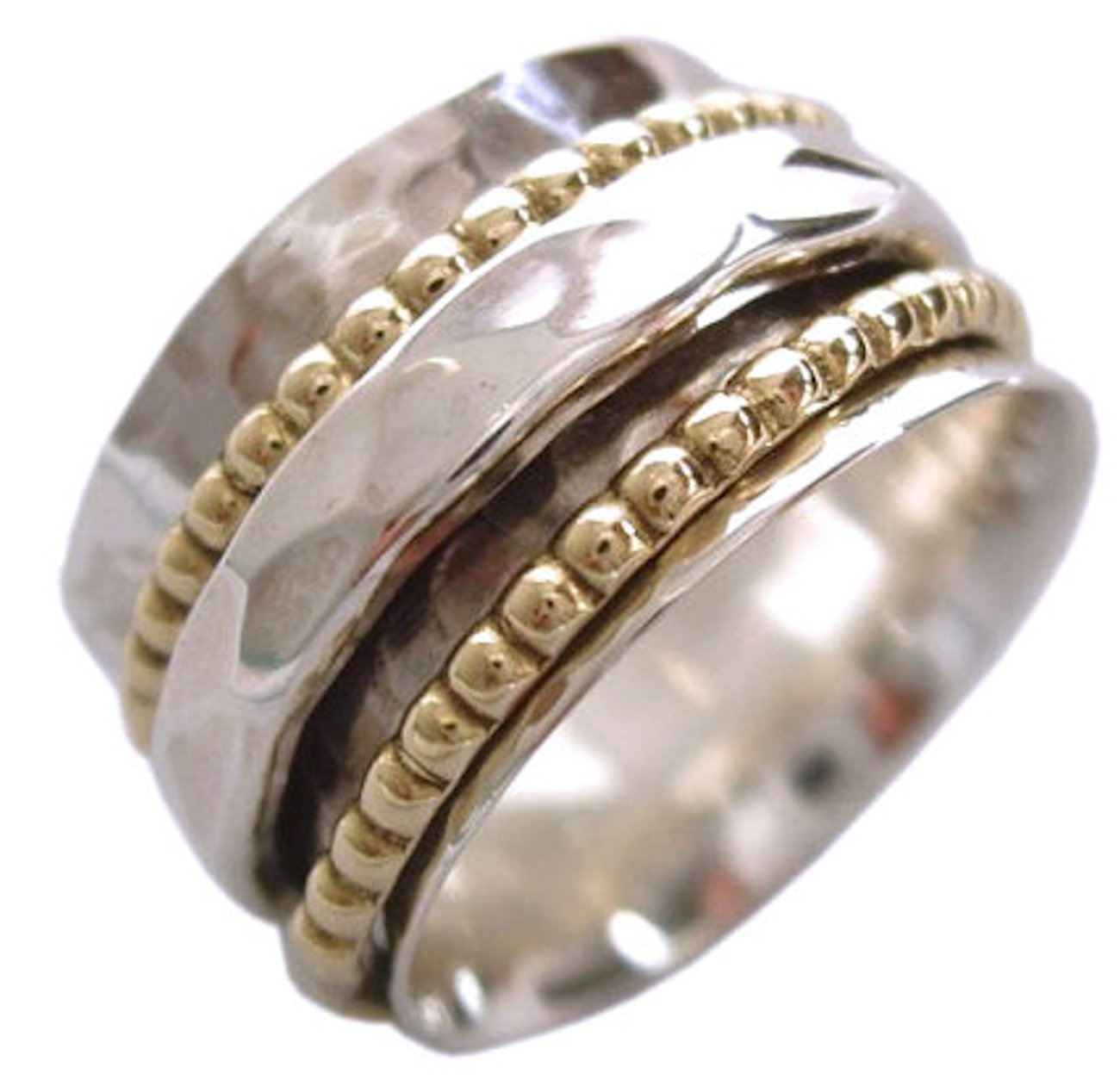 Energy Stone Sterling Silver Spinning Meditation Ring Hammered Pattern Base Shank with 2 Beaded Brass and 1 Hammered Pattern Spinners (Sku# SR01) (7)
