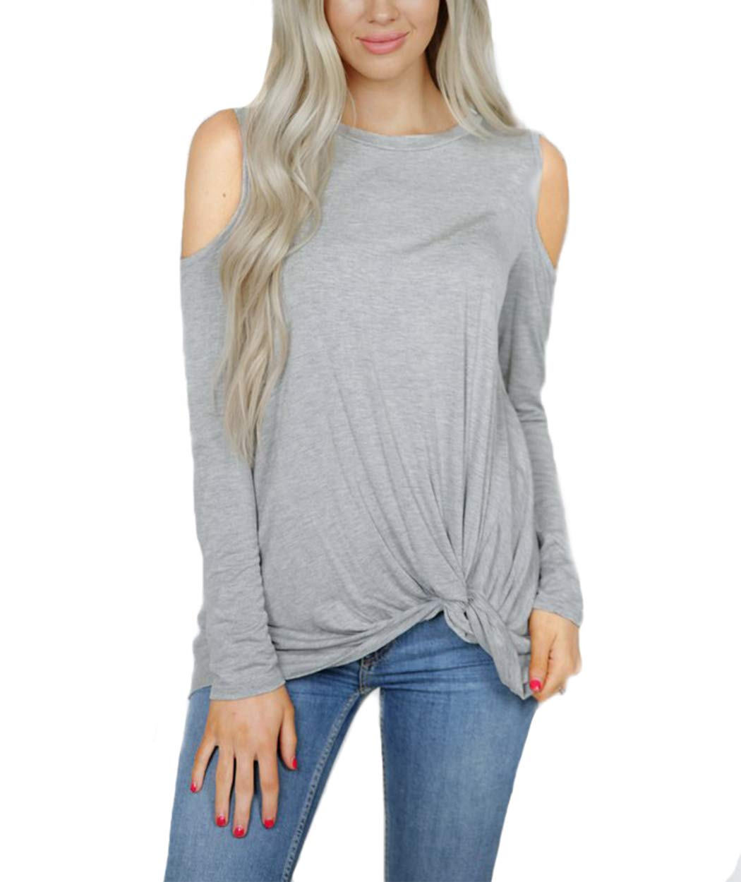 Eanklosco Womens Long Sleeve Cold Shoulder Cut Out T Shirts Casual Knot Tunic Tops (Grey, L)