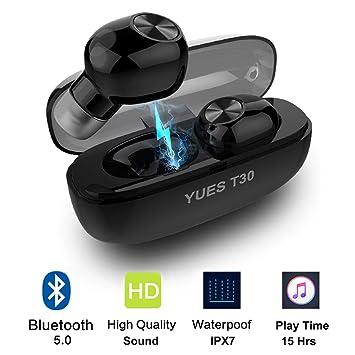 YUES Auriculares Bluetooth 5.0, Estéreo Inalámbricos Wireless IPX7 Resistente al Agua, Micrófono y Asistente Siri Google, hasta 15 Horas de Funcionamiento ...