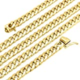 14K Yellow Gold 6.7mm Miami Cuban Hollow Link Box Clasp Chain Necklace 24''-32'', 24
