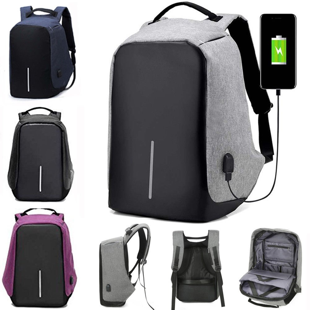Anti-theft Mens Womens Laptop Notebook Backpack + USB Charging Port School Bag by Mystyleshop