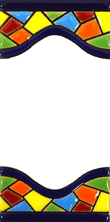 """Image of Letreros con numeros y letras en azulejo de ceramica policromada, pintados a mano en técnica cuerda seca para placas con nombres, direcciones y señaléctica. Texto personalizable. Diseño MOSAICO MEDIANO 10,9 cm x 5,4 cm. (ESPACIO """"BLANCO"""")"""