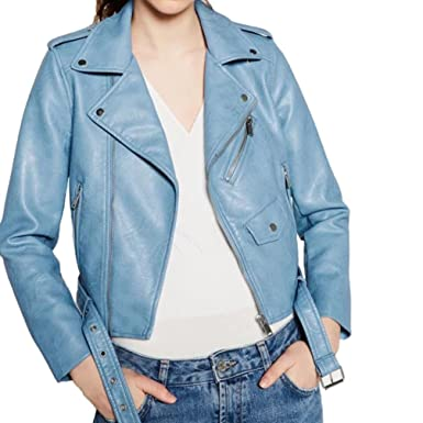 GREFER Clearance New Women Ladies Fashion Faux Leather Racing Style Biker Jacket (S, Blue