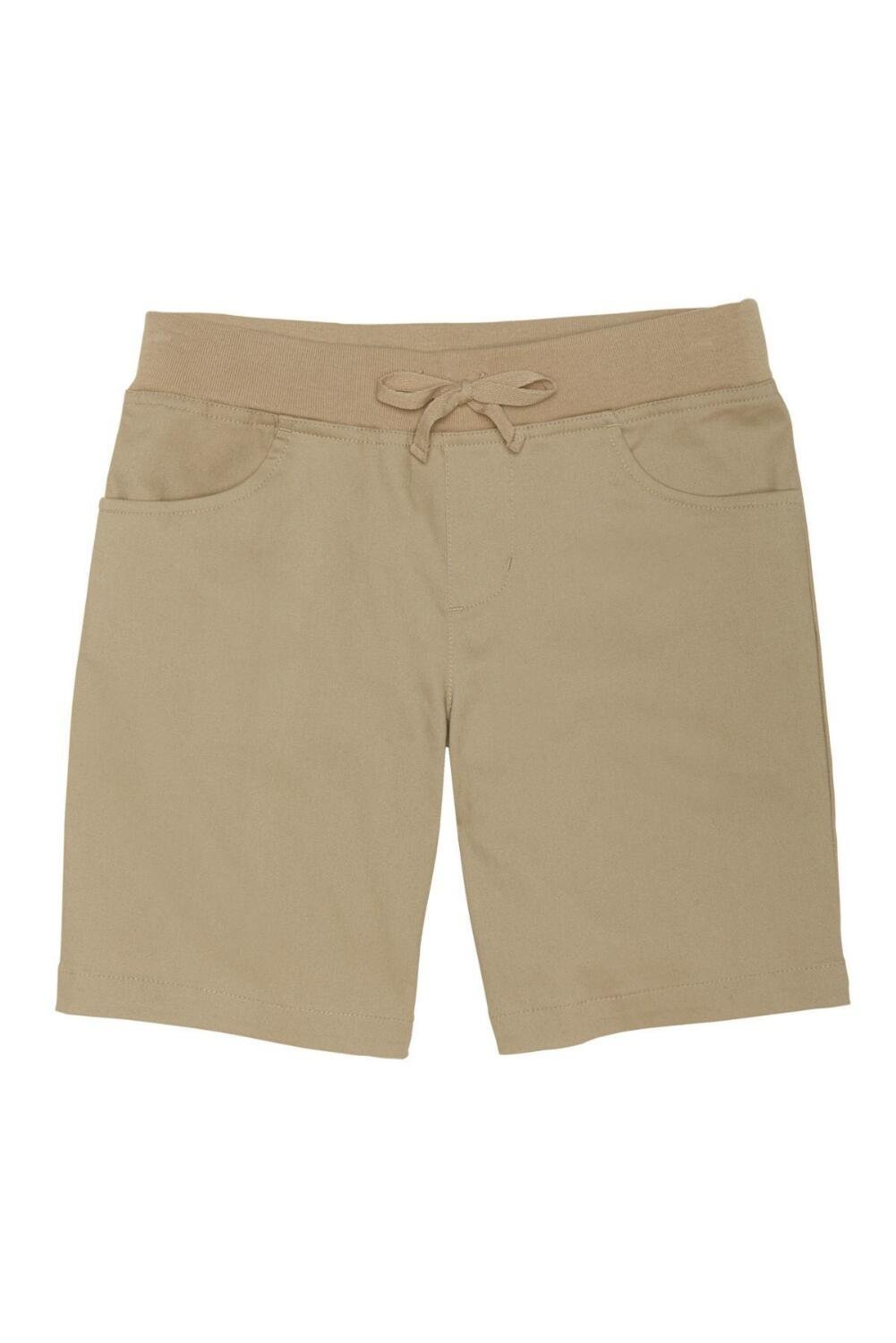 French Toast Big Girls' Stretch Pull-on Tie Front Short, Khaki, 7
