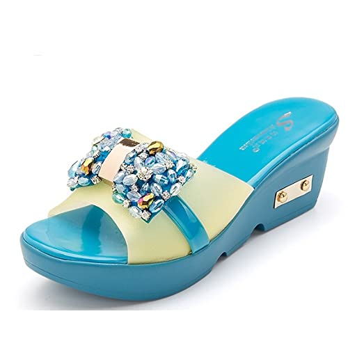 96c521101a62d5 Out Slippers Female Summer Fashion Wear Sexy Slippers Increase The Cool  Trailer Thick Bottom Slippers Slope with a Diamond Slippers (4 Colors  Optional) ...