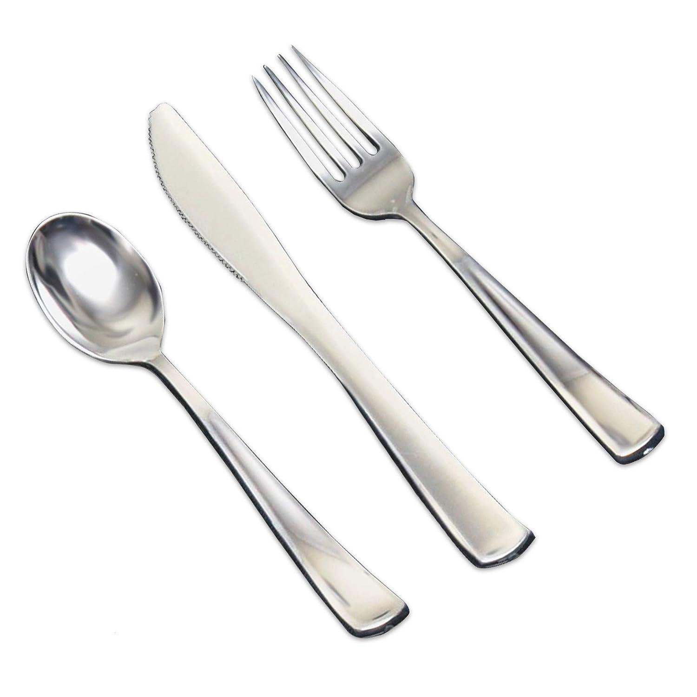 fourchettes et cuill/ères Jaunty Partyware Lot de 54 couverts m/étalliques en plastique jetables avec couteaux