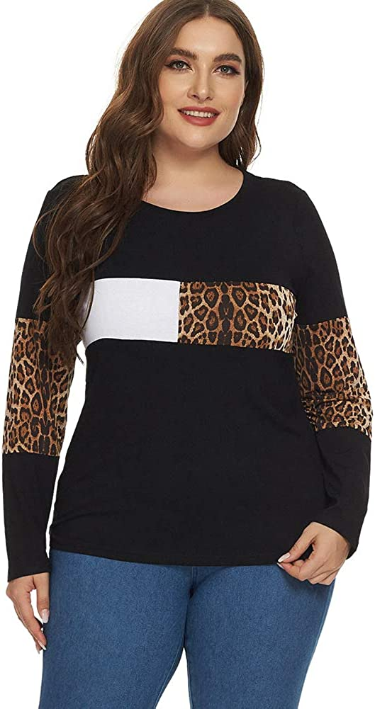 Ranee Women's Plus Size Round Neck Long Sleeve Casual Tops Loose Tunic Shirt XL-5XL