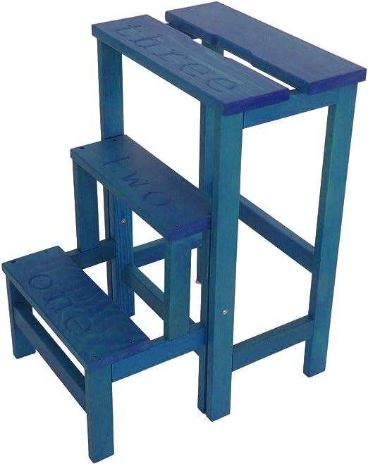 Del Fabbro Escalera retráctil con 3 peldaños en Madera Happy Numbers Color Azul Claro: Amazon.es: Hogar