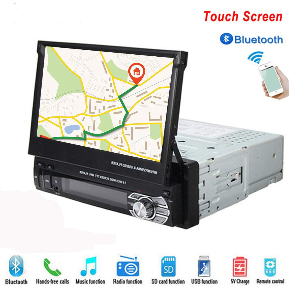 Hikity 1 Din Universal Car Stereo Radio 7 inch HD Touch Screen GPS Navigation FM/AM Radio Bluetooth Autoradio AUX-in MP3//remote Control/MP5 Support USB/SD Card Rear View Camera Backup Came